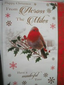 Happy Christmas From ACROSS THE MILES (Robin Sat on Holly Twig) Card