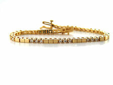 1.65 CT Natural Round Brilliant Diamond Tennis Bracelet VS1/G 14K Yellow Gold