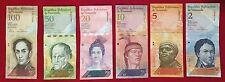 Pack 6 Venezuelan Circulated Banknote (2, 5, 10, 20, 50, 100 BsF) Bolivares