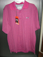 NWT Mens S Under Armour UPF 30+ Short Sleeve Purple Stripe Polyester Golf Shirt