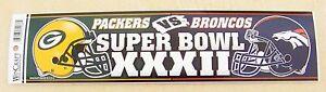 Green Bay Packers vs Denver Broncos bumper sticker bs Super Bowl XXXII 32