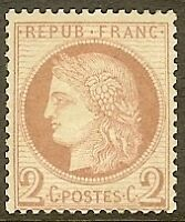 """FRANCE STAMP TIMBRE N° 51 """" CERES 2c ROUGE-BRUN 1872 """" NEUF x TB"""
