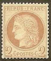 "FRANCE STAMP TIMBRE N° 51 "" CERES 2c ROUGE-BRUN 1872 "" NEUF x TB"