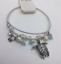 Sea Life Bracelet Textured Turtle Pearl Charm Wire Bangle Bracelet Silver Tone