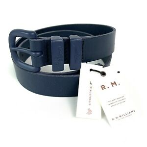 """RM Williams Drover 1 1/4"""" Blue Cowhide Leather Belt Size 36 Made In Australia"""