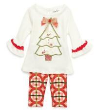 """NEW Rare Editions Size 6 Girls """"IVORY VINTAGE TREE"""" CHRISTMAS Top Leggings NWT"""