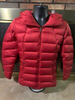 Patagonia Goose Down Puffer Quilted Hooded Coat Jacket Womens Sz Medium Red EUC