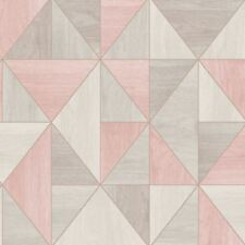 APEX WOOD GRAIN GEOMETRIC WALLPAPER - ROSE GOLD / GREY - FINE DECOR FD42224