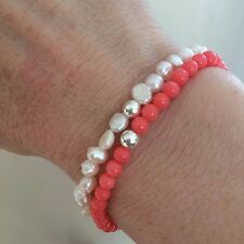 DESIGNER PINK CORAL STRETCH BRACELET STERLING SILVER BEAD TINY LAYERING JEWELRY
