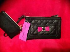 Betsey Johnson Clutch/Wristlet Purse Diamond  Black Pink 2 in 1 New NWT Gold