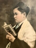 Little Alter Boy Catholic Child Reading Bible Hand Tinted Antique Photograph Pic