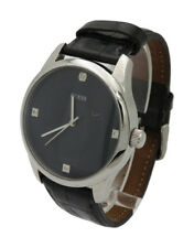 Mens GUESS U0539G1 Dressy Black Leather Watch with Genuine Diamond Markers