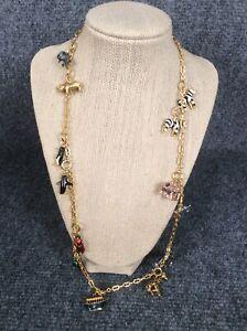 Beautiful Joan Rivers Noah's ark animal charms  gold tone Pendant necklace