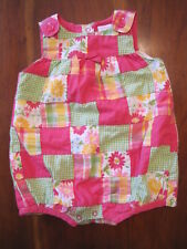 Gymboree Girl Pink Green Floral Patchwork Lined Bubble Romper 6-12 Month EUC