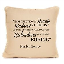 Marilyn Monroe Pillow Cushion Imperfection Is Beauty Inspirational Quote Gift
