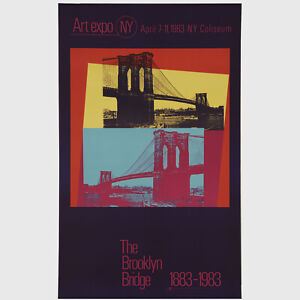 "Andy Warhol Rare Vintage 1983 Original The Brooklyn Bridge 1883-1983 26"" Poster"