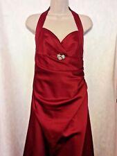 Davids Bridal Halter Full Length Maroon Prom Formal Gown Size 8