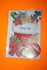 CARTE POSTALE JOYEUX NOEL + enveloppe Blanche 11,5 x 16,5 cm Chaussette de noel