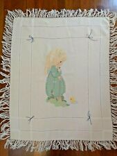 Vintage Precious Moments Throw Baby Blanket Handmade Cross Stitched