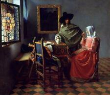 Glass Wine Jan Vermeer Van Delft 1661 Repro Art Photo/Poster Print Satin/Canvas/