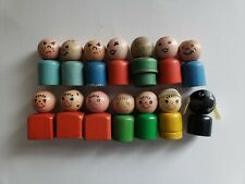 Lot of 14 Original Vintage Fisher Price Play Family Little People & Dog Wooden
