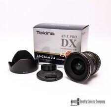 Tokina 12-24mm f/4 AT-X 124 AF Pro DX Lens for Nikon w/ Caps, Hood + Manual