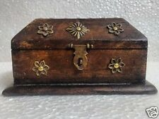 Antique Look Old Wooden Handmade Brass Flower Fitted Jewellery Box