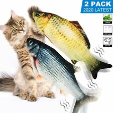 2 Pack 11� Realistic Electric Moving Fish,Biting Chewing Wiggle Fish Cat Toy