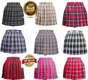 Women High Waist Tartan Pleated Zip Tennis Skirts Skater Casual Mini Skirt Short