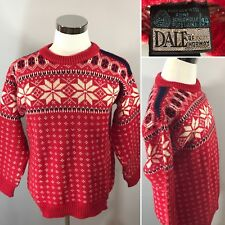 DALE OF NORWAY Nordic Snowflake Wool Crewneck Christmas Skiing Sweater Sz 54