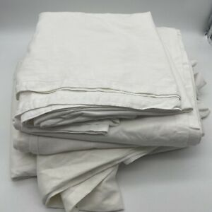 Bundle of 7 Single Curtains 100% Cotton Material Craft Various Sizes White Cream