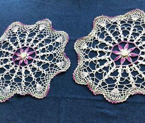 "Two Hand Crocheted Table Doilies,  White Cotton Yarn w. Purple Trim, 18"" Diam."