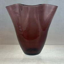 "Stunning Blenko #404-S Lilac Purple Glass Fluted Vase 9.5"" Tall 1959-60 Catalog"
