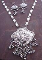 Long Boho Statement Necklace Pendant Vintage Kuchi Gypsy Hippie Fashion Jewelry