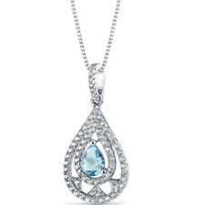 Swiss Blue Topaz Chandelier Pendant Necklace Sterling Silver 0.75 Carats
