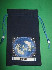 """TAROT CARD BAG -""""PISCES""""- NAVY BLUE SILK-4 1/2"""" x 6 3/4""""-silk lining"""