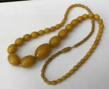 Necklace Egg Yolk Butterscotch 55g Vtg Faux Bakelite Amber Graduated Beads