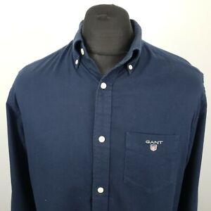 GANT Mens THICK Shirt MEDIUM Long Sleeve Blue Regular Fit No Pattern Cotton