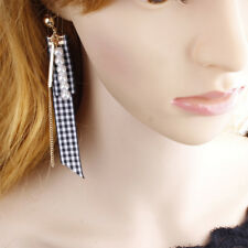 Multi-layer Bead Earrings Personalized Long Women Earrings Sweet Plaid Ribbons