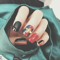 24Pcs Fake Nails Tips For Women with Glue Press On False Nail Art Decoration