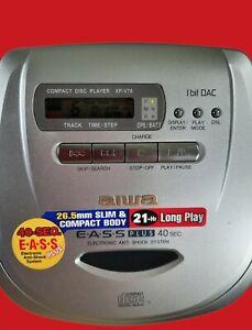 AIWA XP-V70 EASS Plus Compact Portable CD Player Anti-Shock w Head Phones & Case