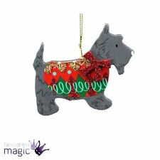 Gisela Graham Festive New Christmas Wood Scottish Terrier Scottie Dog Decoration