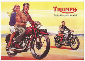 Triumph Best Motorcycle in World Advertising Postcard Robert Opie Reproduction