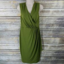 Jax Size 8 Sheath Dress Olive Green Faux Wrap Sleeveless Slimming Womens Career