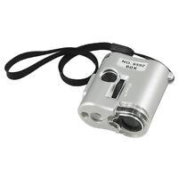 60X Lente di ingrandimento 2 LED lampada UV 1 gemma grigio Guscio A4N4 Q4F7