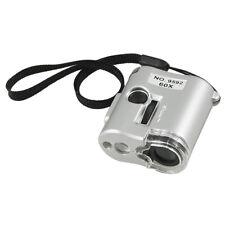 60X Lente di ingrandimento 2 LED lampada UV 1 gemma grigio Guscio A4N4
