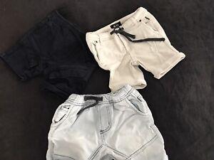 Indie Kids 3 Shorts Size 1 X3 Beige Navy Boys Denim Shorts Faded Used Baby Kids