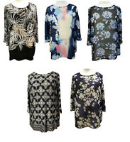 Plus Size Printed Tunic Tops 3/4 sleeves Boat neckline Summer Blouses size to 36