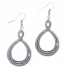 Women's Simple Vintage Fashion Antic Silver Tone Round Drop/Dangle Earrings Gift