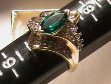 Absolutely Beautiful 14k Gold Green Emerald and Diamond Cluster Ring, 5.1 Grams